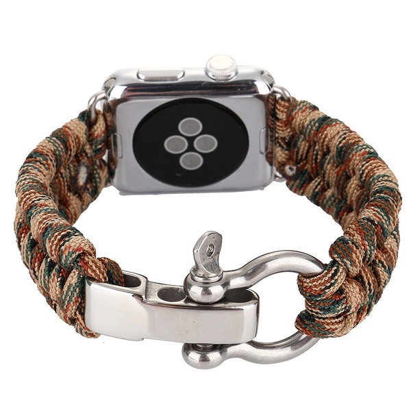 123Watches.nl Apple watch nylon rope band - camouflage bruin
