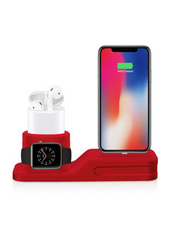 123Watches.nl Apple watch silicone 3 in 1 dock - rood