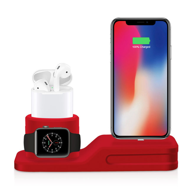 Merk 123watches Apple watch silicone 3 in 1 dock - rood