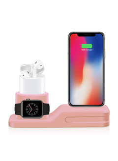123Watches.nl Apple watch silicone 3 in 1 dock - roze