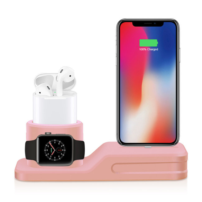 123Watches Apple watch silicone 3 in 1 dock - pink