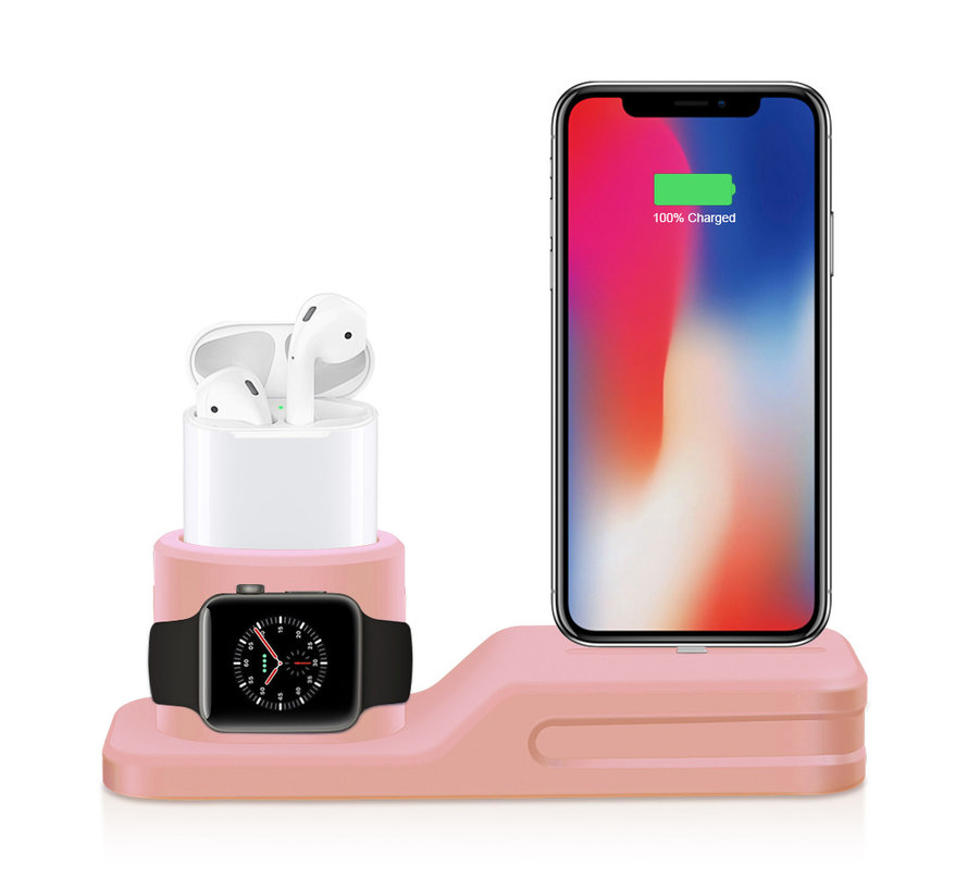 Apple watch silicone 3 in 1 dock - roze