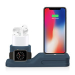 123Watches Apple watch silicone 3 in 1 dock - bleu foncé
