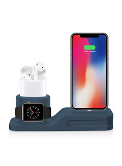 123Watches.nl Apple watch silicone 3 in 1 dock - donker blauw