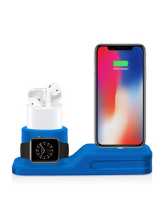 123Watches.nl Apple watch silicone 3 in 1 dock - blauw