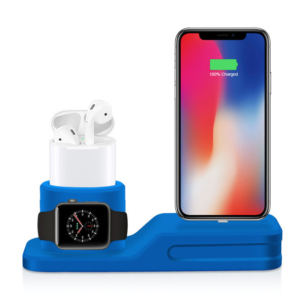 123Watches Apple watch silicone 3 in 1 dock - bleu