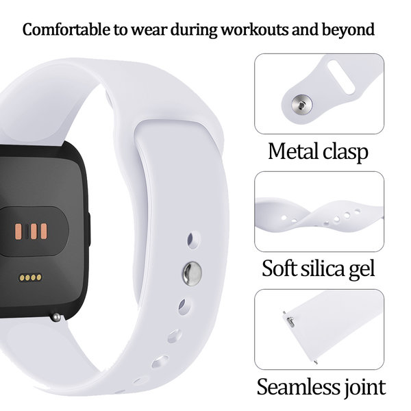 123Watches Fitbit versa silicone sangle - blanc