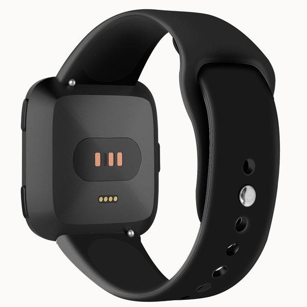 123Watches Fitbit versa silicone band - zwart