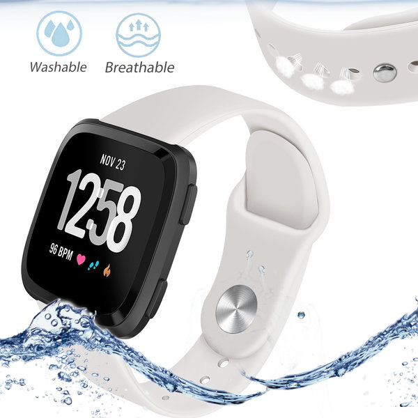 123Watches.nl Fitbit versa silicone band - aprikose