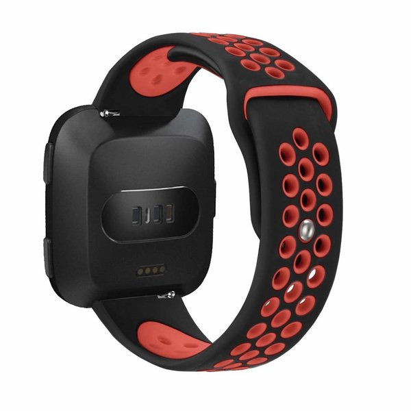 123Watches Fitbit versa double sport band - black red