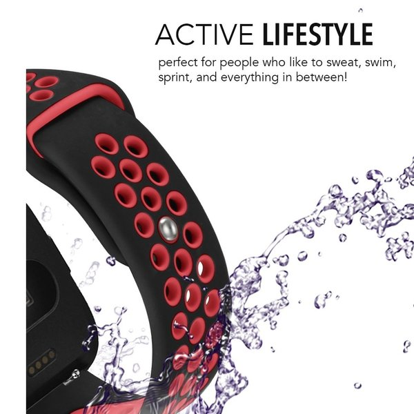 123Watches Fitbit versa double sport sangle - noir rouge