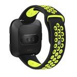 123Watches Fitbit versa dubbel sport band - zwart groen