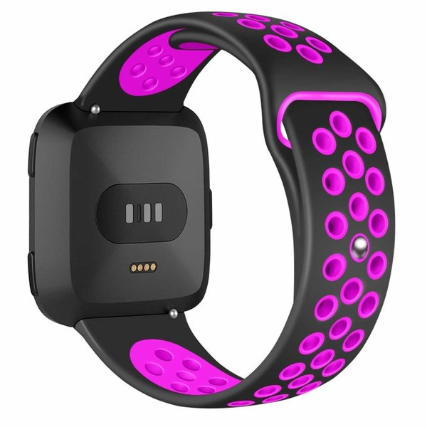 123Watches Fitbit versa double sport band - black purple