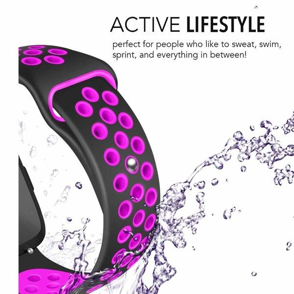 123Watches Fitbit versa dubbel sport band - zwart paars