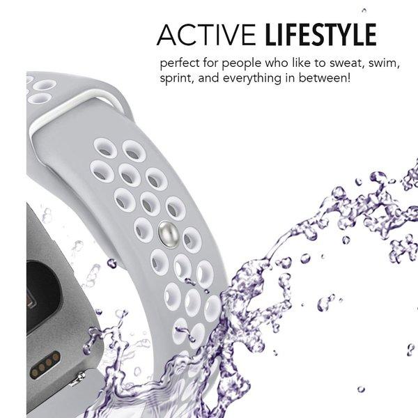 123Watches Fitbit versa dubbel sport band - grijs wit