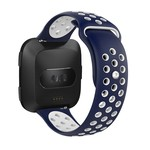 123Watches Fitbit versa doppelt sport band - bleu foncé blanc