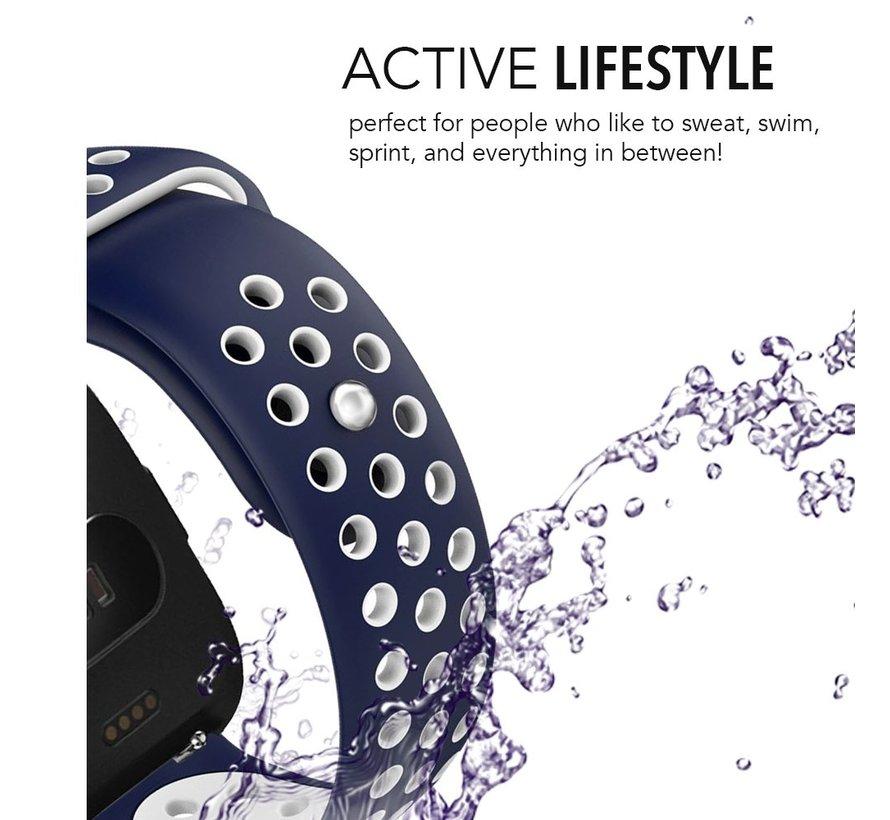 Fitbit versa dubbel sport band - donkerblauw wit
