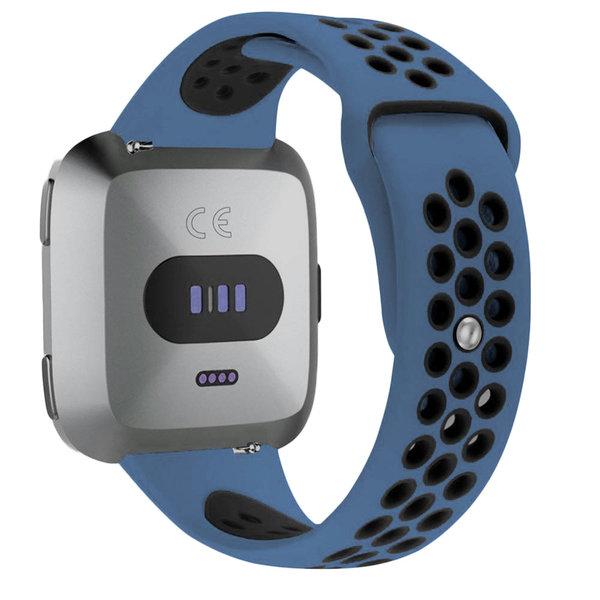 123Watches Fitbit versa dubbel sport band - donkerblauw zwart