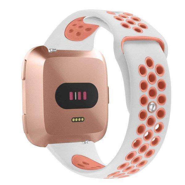 123Watches Fitbit versa dubbel sport band - wit roze
