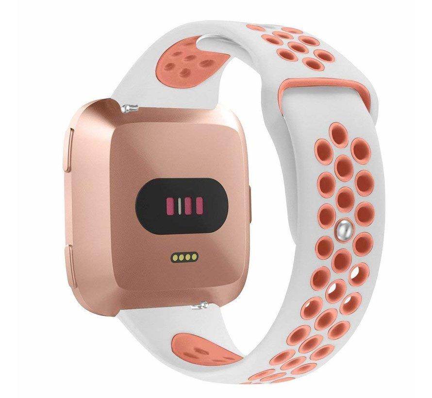 Fitbit versa dubbel sport band - wit roze