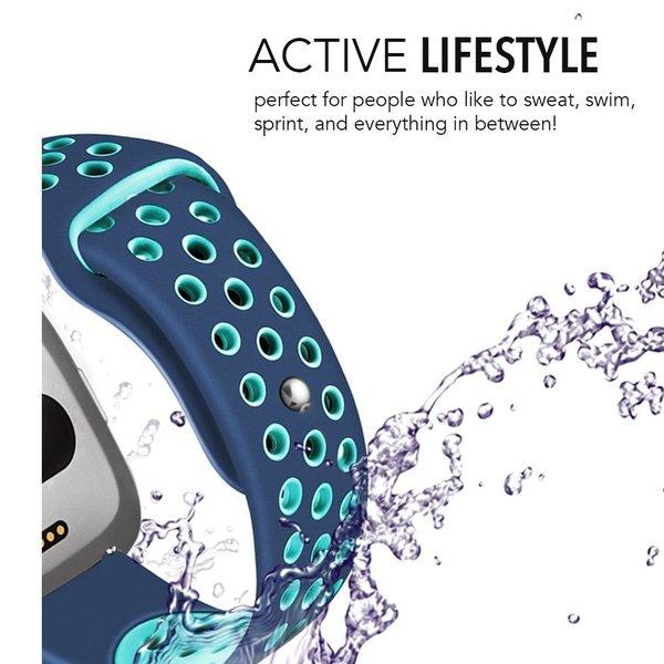123Watches Fitbit versa dubbel sport band - blauw lichtblauw
