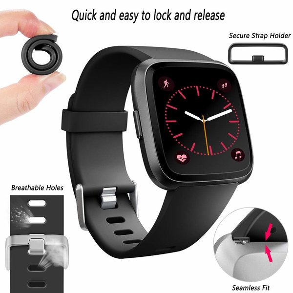 123Watches Fitbit versa sport sangle - noir