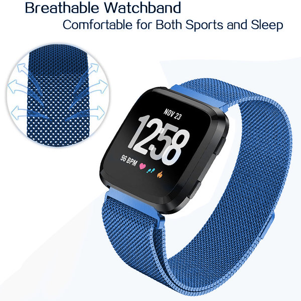 123Watches Fitbit versa milanese band - blue