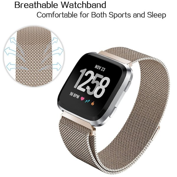 123Watches.nl Fitbit versa milanese band - champagner