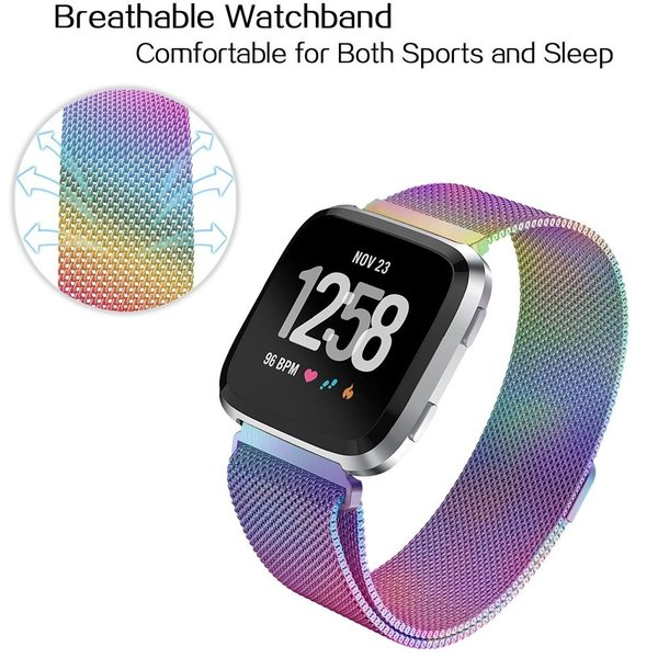 123Watches.nl Fitbit versa milanese band - colorful