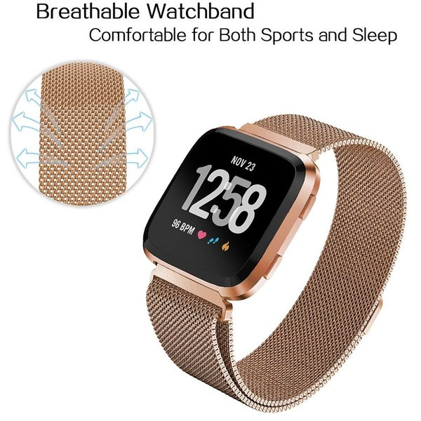 123Watches.nl Fitbit versa milanese band - roségold