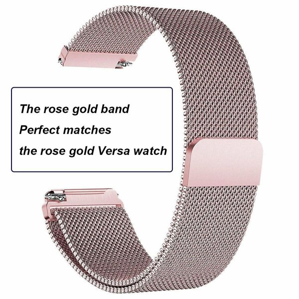 123Watches.nl Fitbit versa milanese band - rose rood