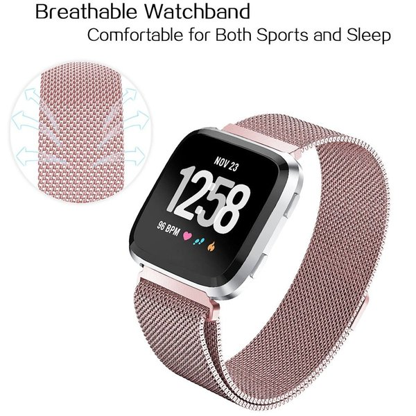 123Watches Fitbit versa milanese band - rose rood