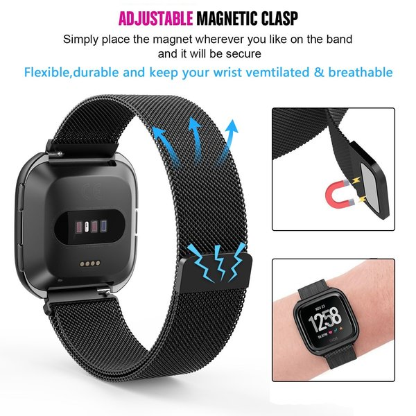 123Watches Fitbit versa milanese case band - zwart