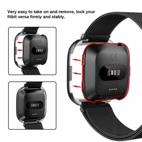 123Watches Fitbit versa milanese case band - black
