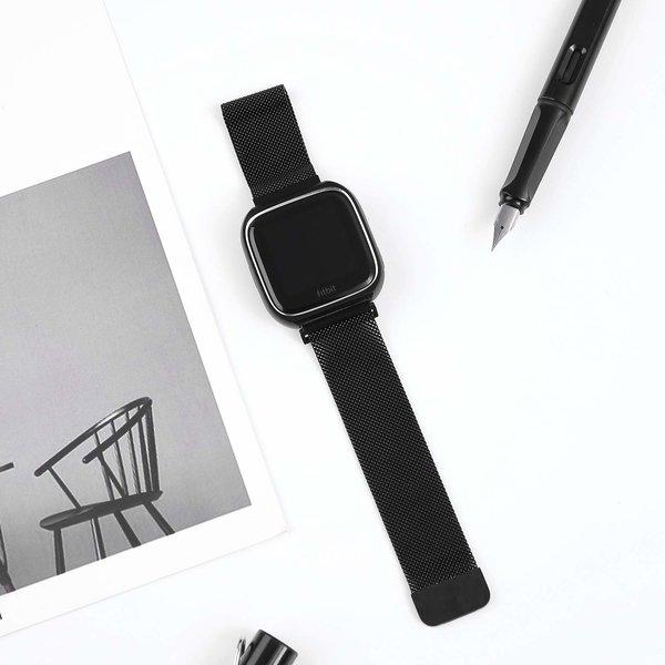 123Watches.nl Fitbit versa milanese case band - zwart