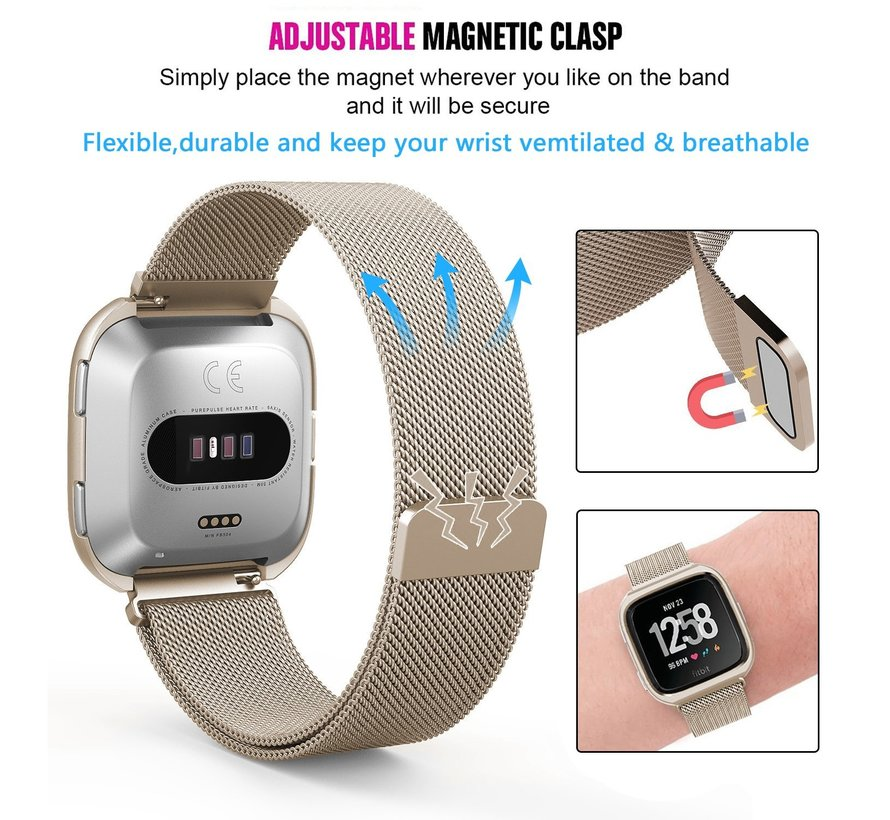 Fitbit versa milanese case band - champagne