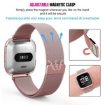 123Watches Fitbit versa milanese case band - rose rood