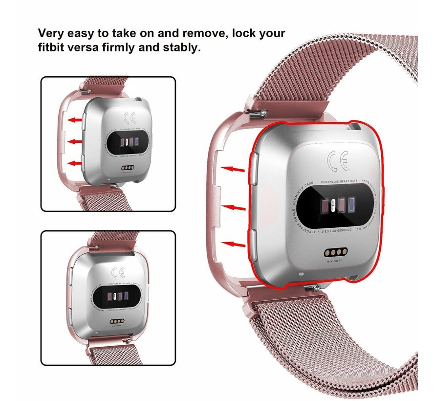 Fitbit versa milanese case band - rose red