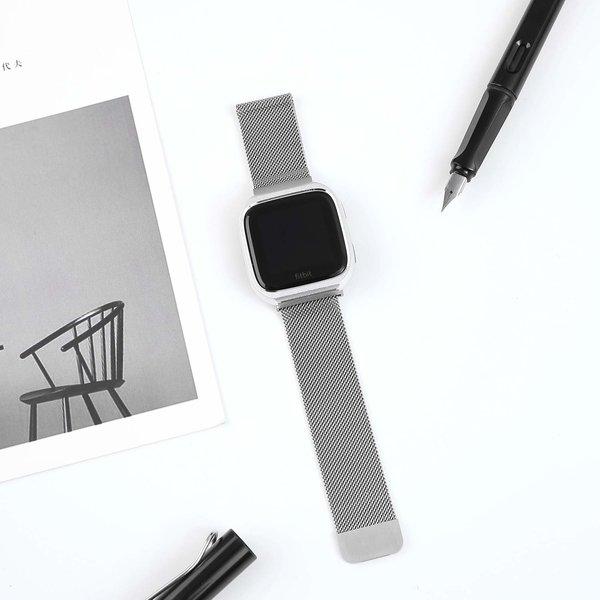 123Watches Fitbit versa milanese case band - zilver