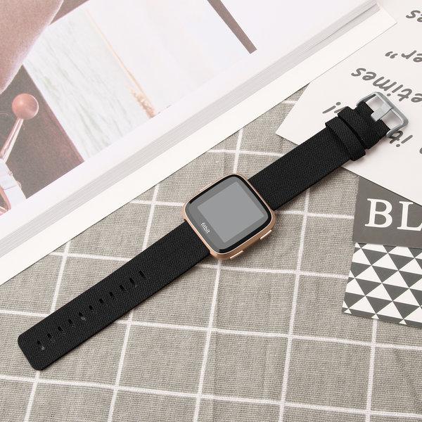 123Watches Fitbit versa nylon gesp band - schwarz