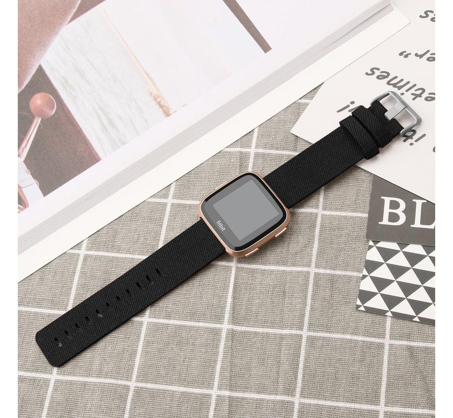 Fitbit versa nylon gesp band - zwart