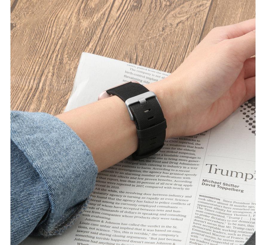 Fitbit versa nylon gesp band - schwarz