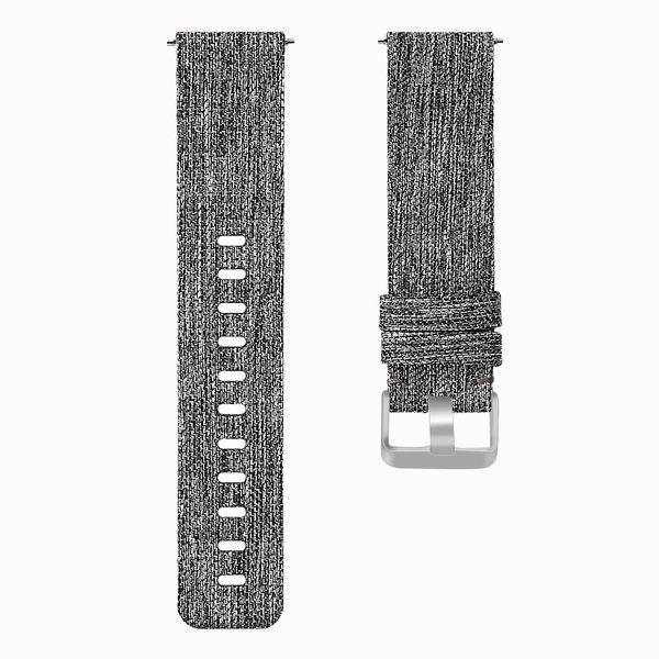 123Watches.nl Fitbit versa nylon gesp band - donker grijs