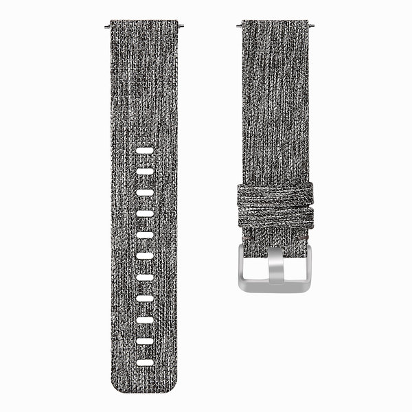 123Watches.nl Fitbit versa nylon gesp band - dunkelgrau