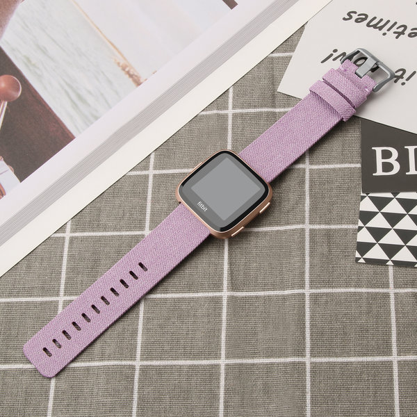 123Watches.nl Fitbit versa nylon gesp band - lavender