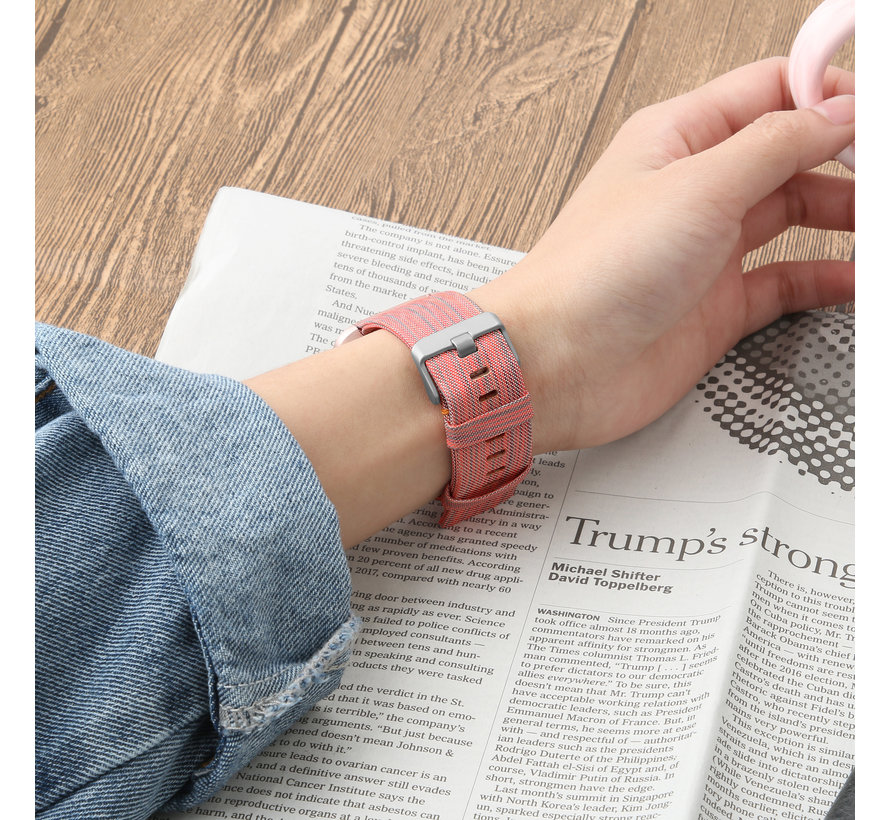 Fitbit versa nylon gesp band - oranje gestreept