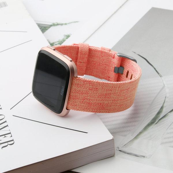 123Watches.nl Fitbit versa nylon gesp band - orange
