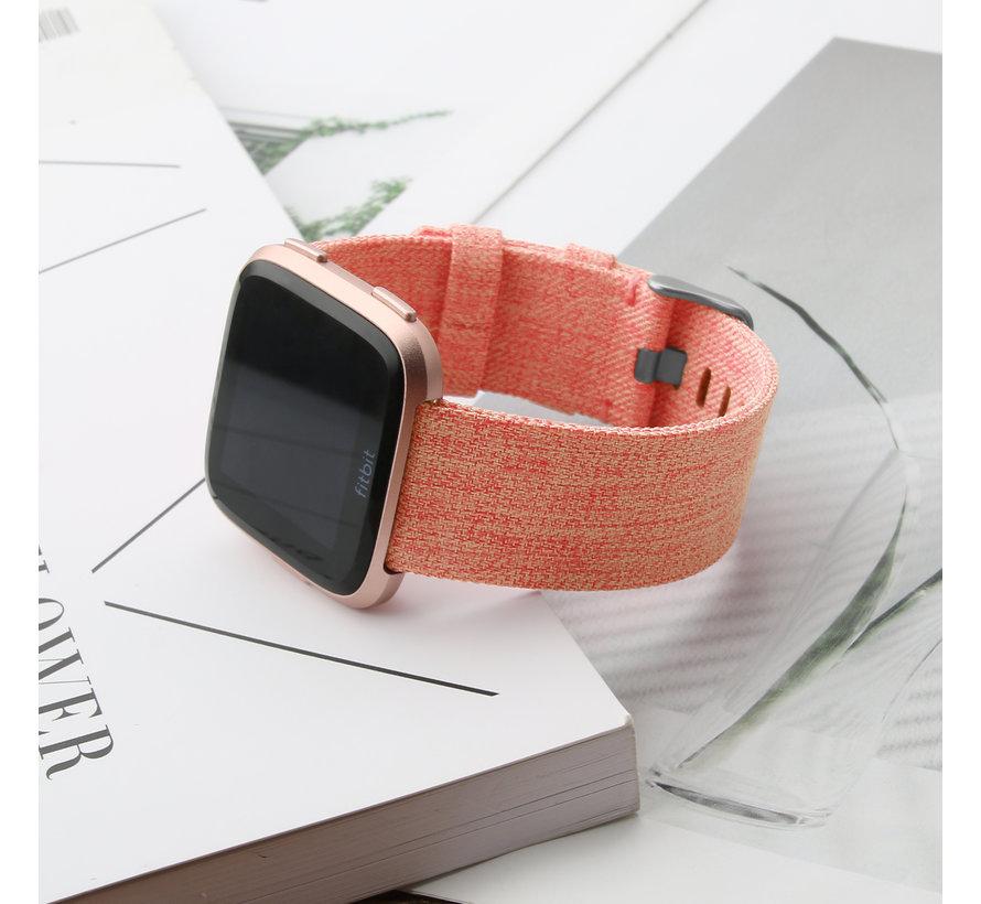Fitbit versa nylon gesp band - oranje