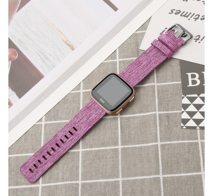 Fitbit versa nylon gesp band - lila