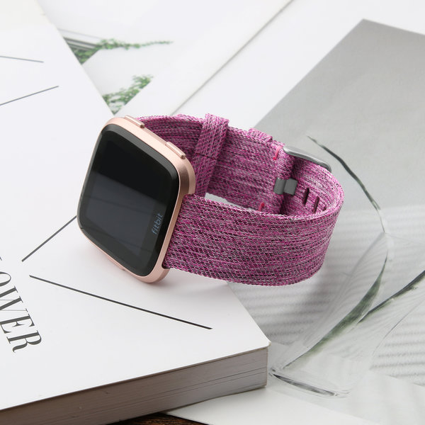 123Watches.nl Fitbit versa nylon gesp band - lila